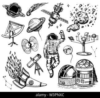 Arrière-plan de l'astronomie dans un style vintage. L'espace et le cosmonaute, lune et les vaisseaux spatiaux, les météorites et les étoiles, les planètes et l'observatoire. Faites à la main en rétro Photo Stock