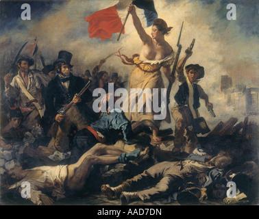 9FK 1830 7 27 A2 C D Delacroix Die Freiheit fuehrt das Volk Delacroix Eugène 1798 1863 Die Freiheit fuehrt Photo Stock