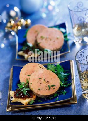 Tranches de foie gras torchon Photo Stock