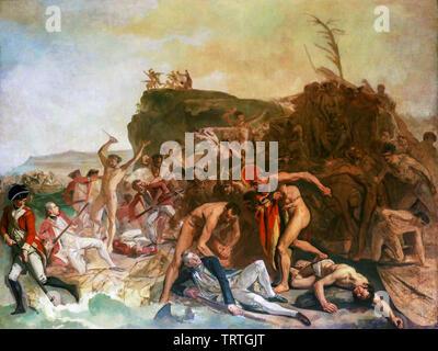 La mort du Capitaine James Cook, 14 février 1779, peinture, vers 1795 Photo Stock