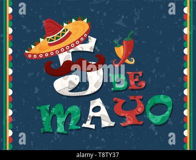 Le Cinco de Mayo mexicain pour carte de voeux fête de l'indépendance. Drôle de numéro 5 avec le Mexique traditionnel mariachi hat et moustache. Photo Stock