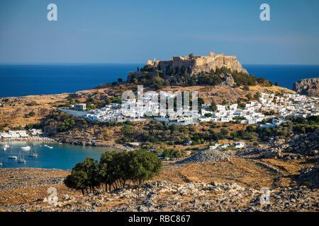 La Grèce, l'Acropole de Lindos, Rhodes Photo Stock