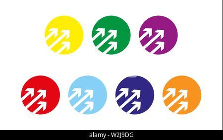 Trois flèches dans un cercle. Ensemble d'éléments de couleurs pour la conception, le design et l'infographie Photo Stock