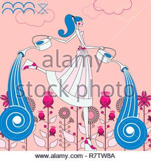 Modèle de mode comme verseau signe du zodiaque Photo Stock
