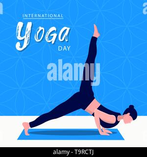 Yoga International Day Greeting card illustration of woman doing meditation pose pour l'esprit et l'exercice de relaxation. Photo Stock