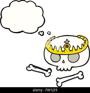 Freehand appelée bulle pensée cartoon skull wearing tiara Photo Stock