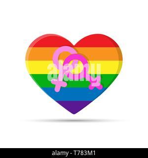 Coeur aux couleurs de la communauté LGBT avec le symbole des lesbiennes. Deux symboles du féminin sur le fond des cœurs en couleurs de Photo Stock