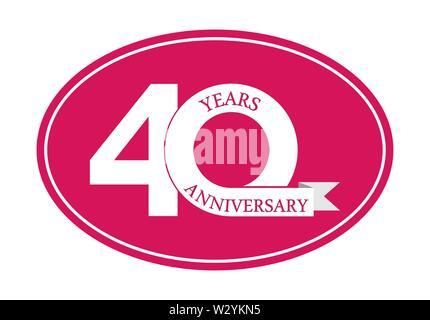 40 ans anniversaire inscription sur ovale bleu, design plat simple Photo Stock