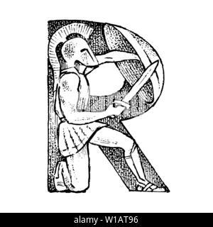 Ancien antiquité lettre capitale R avec l'ornement. La culture grecque. Double exposition. Croquis dessinés à la main, gravée dans un style vintage. Photo Stock
