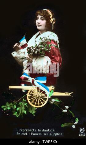 """WW1 - carte française patriotique - Le secteur des pièces d'artillerie comme le pourvoyeur de la justice: """"Il représente la justice - et mettre l'ennemi à mort""""... Date: 1915 Photo Stock"""
