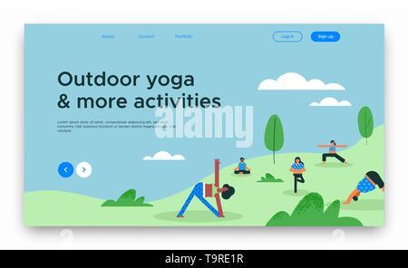 Yoga en plein air modèle de page d'atterrissage ou d'affaires web cours en ligne avec diverses personnes faire de l'exercice de groupe. Photo Stock