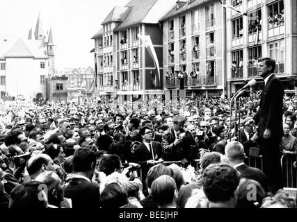 Le président américain, John Fitzgerald Kennedy donne un discours public à l'ouest de Berlin, Photo Stock