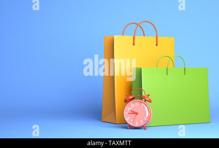 Deux sacs de shopping et réveil. 3D illustration Photo Stock