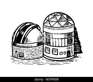 Observatoire pour observer les étoiles, les planètes et l'espace. Croquis d'astronomie pour emblème ou logo dans le style vintage. Illustration à la main en rétro doodle Photo Stock