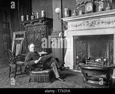 JOHN MILLAIS (1865-1931) peintre écossais, naturaliste et écrivain voyageur à Compton's Row house à Horsham, Sussex. Photo Stock