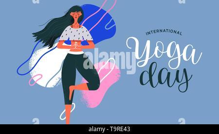Journée Internationale de Yoga de carte de vœux femme en posture de l'arbre pour la méditation, la santé et la forme physique. Photo Stock
