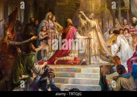 Couronnement impérial de Charlemagne, peinture, 1861 Photo Stock