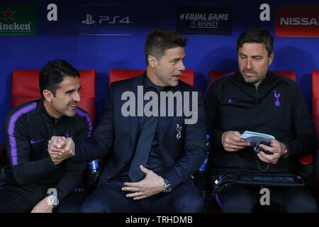 Jésus PEREZ, MAURICIO POCHETTINO, Miguel D'AGOSTINO, Tottenham Hotspur FC V LIVERPOOL FC finale de Champions League 2019, 2019 Photo Stock
