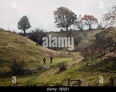 Jeune couple randonnées par temps nuageux jour Photo Stock