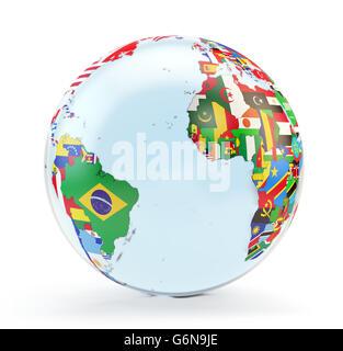 Globe 3D avec drapeaux nationaux Photo Stock