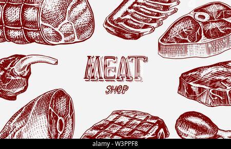 Grillades de viandes de porc, d'affiches ou Pavé de boeuf. Barbecue Barbecue bannière. L'alimentation dans un style vintage. Arrière-plan de menu de restaurant, emblèmes ou badges. Hand drawn Photo Stock