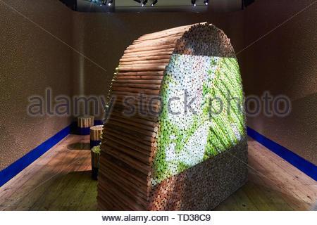 L'installation par David Elia Design Studio pour le Brésil. Design Biennale 2018 de Londres, Londres, Royaume-Uni. Architecte: Divers , 2019. Photo Stock