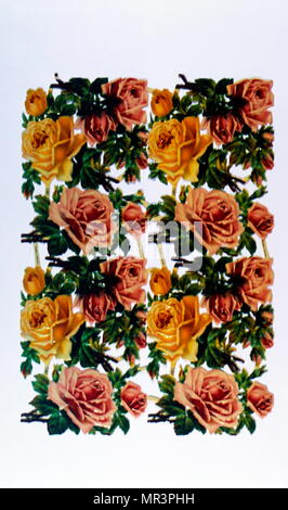 Chromolithographie française de rouge, rose et jaune roses. 1900 Photo Stock