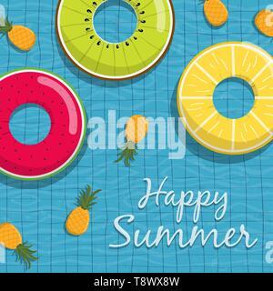 Happy Summer Greeting card illustration de plaisir et life savers fruits ananas flottant sur l'eau de piscine, l'arrière-plan. Photo Stock