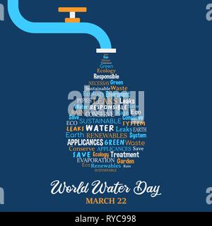 Journée mondiale de l'illustration pour le changement climatique et de l'environnement concept care. Robinet avec motifs en forme de citations. Photo Stock