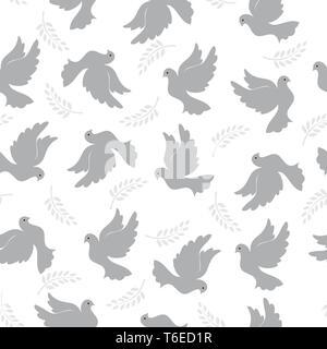 Modèle transparent avec les pigeons et branche d'olivier. Couleurs aléatoires moderne. Idéal pour les textiles, l'emballage, l'impression papier, simple et de textures. Photo Stock