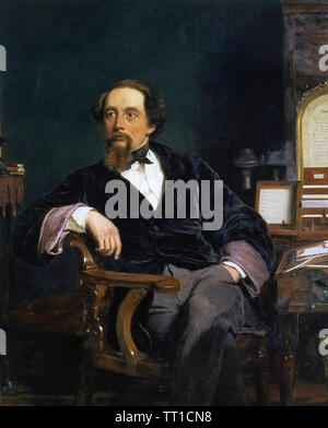 CHARLES DICKENS (1812-1870), romancier anglais peint par William Frith en 1859 Photo Stock