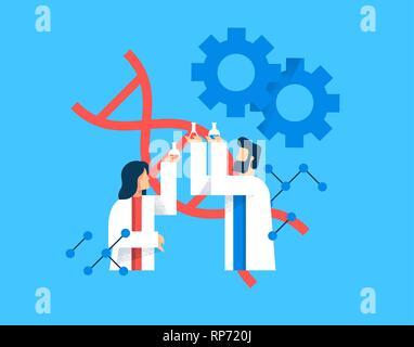 La science concept illustration de l'homme et de la femme les scientifiques de télévision cartoon style moderne pour l'éducation scientifique concept. Photo Stock