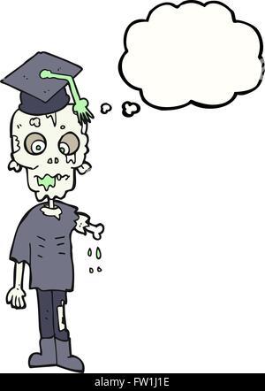 Freehand appelée bulle pensée étudiant zombie cartoon Photo Stock