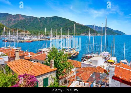 Vieille ville et du port de plaisance de Marmaris, Turquie Photo Stock