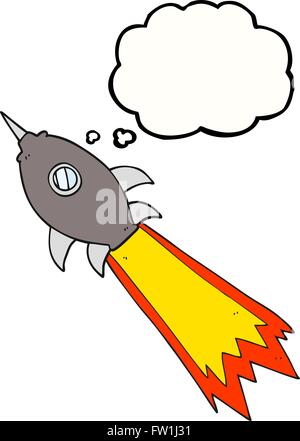 Freehand appelée bulle pensée cartoon spaceship Photo Stock