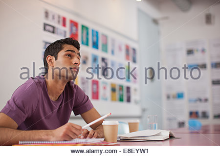 Pensive businessman in office Photo Stock