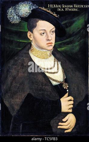 Atelier de Lucas Cranach l'Ancien, John Ernest, duc de Saxe-cobourg, 1521-1553, portrait, vers 1550 Photo Stock