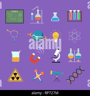 La science colorés icon set, l'éducation et de la recherche conception collection. Inclut des outils scientifiques, microscope, chimie de laboratoire et de recherche, ballon Photo Stock