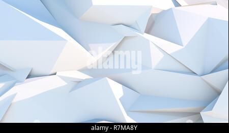Arrière-plan géométrique triangle polygonale blanc. 3D illustration Photo Stock