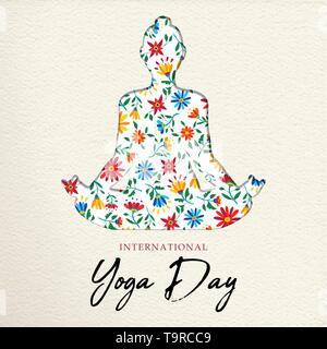 Carte de souhaits jour Yoga illustration. Femme lotus posent la méditation faite de couleurs de fleurs de printemps. Photo Stock