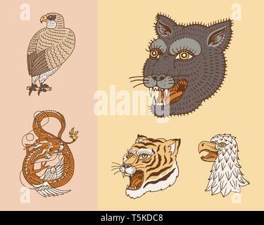Les animaux sauvages vintage. Logo pour t-shirt. Tigre asiatique, Dragon chinois, Panther, Fox, Falcon, singe. Traduction Le nom de la Mythologie Japonaise Photo Stock