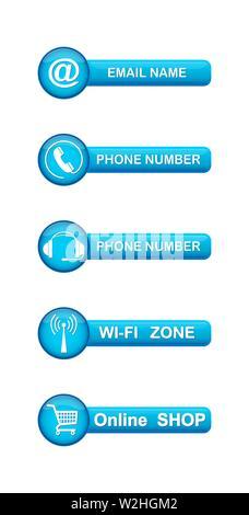 Ensemble de boutons bleus avec des symboles contact pour les sites web et applications. Photo Stock