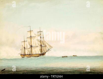 HMS Endeavour au large de la côte de la Nouvelle-Hollande (Australie), peinture, 1794 Photo Stock