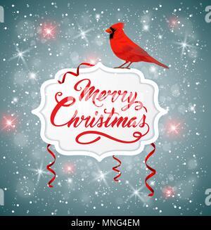 Noël vecteur bannière avec oiseau cardinal rouge et l'accueil d'inscription. Joyeux Noël le lettrage Photo Stock