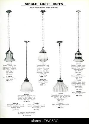 Les appareils d'éclairage électrique, catalogue d'unités lumineuses unique avec une gamme de nuances. Date: 1922 Photo Stock