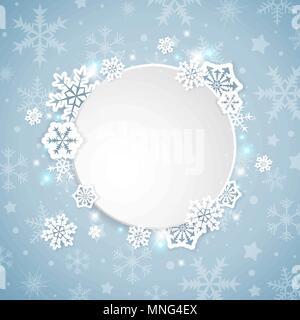 Noël vecteur bannière avec flocons de papier blanc sur fond bleu Photo Stock