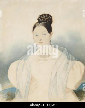 Portrait de la Comtesse Ekaterina Alexandrovna, Zubova n&#xe9;e Obolenskaya (1811-1843), années 1830. On trouve dans la collection de musée d'état de l'histoire, l'architecture et l'Art La nouvelle Jérusalem, Istra. Photo Stock