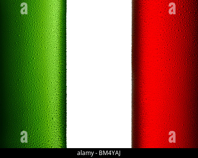Drapeau italien composé de deux bouteilles de froid Photo Stock