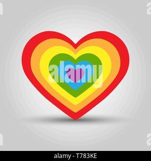 Tout son cœur se compose de plusieurs cœurs en couleurs LGBT Photo Stock