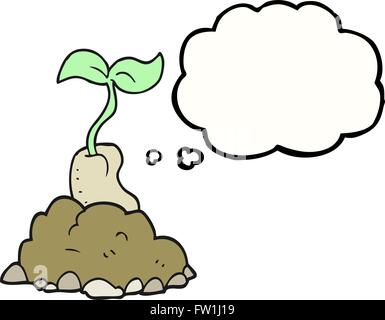 Freehand appelée bulle pensée cartoon sprouting seed Photo Stock